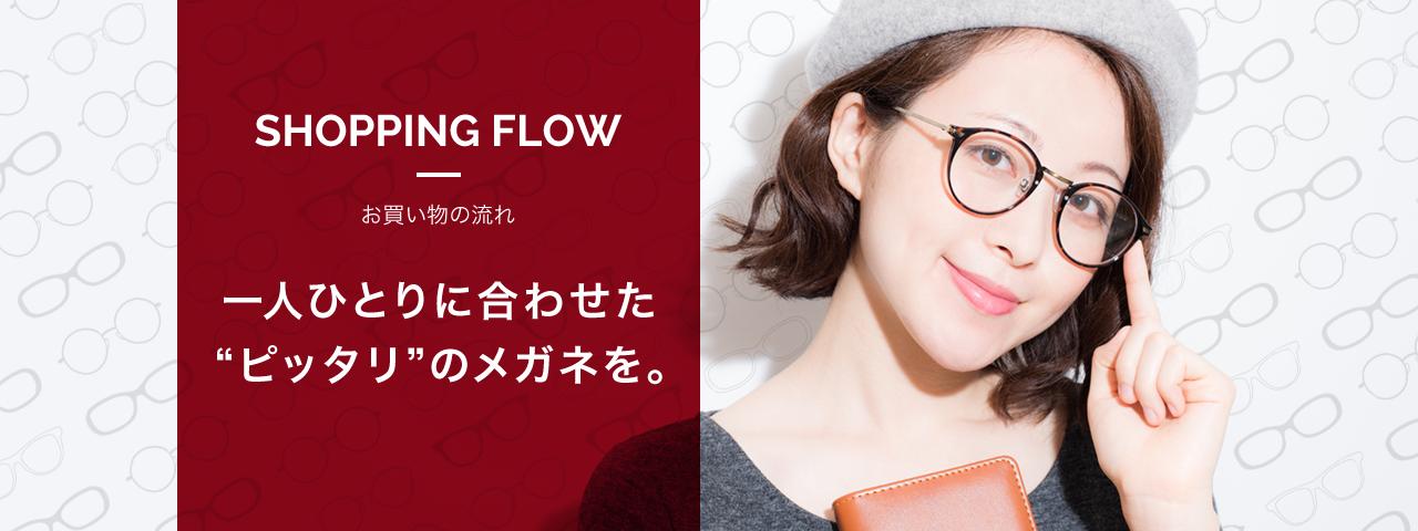 """SHOPPING FLOW お買い物の流れ 一人ひとりに合わせた""""ピッタリ""""のメガネを。"""